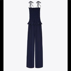 Tory Burch Navy Smocked Jumpsuit